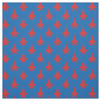 F-35 Lightning 2 Fighter Jets Pattern Red on Blue Fabric