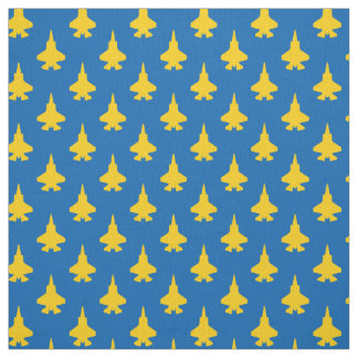 F-35 Lightning 2 Fighter Jets Yellow on Blue Fabric
