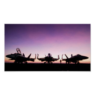 F/A 18 Hornet Aircraft at Sunset Poster