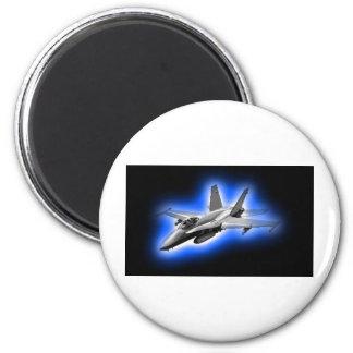 F/A-18 Hornet Fighter Jet Light Blue 2 Inch Round Magnet