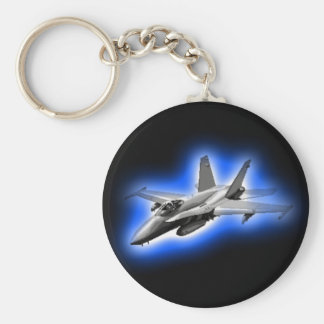 F/A-18 Hornet Fighter Jet Light Blue Basic Round Button Keychain