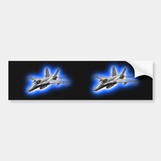 F/A-18 Hornet Fighter Jet Light Blue Bumper Sticker