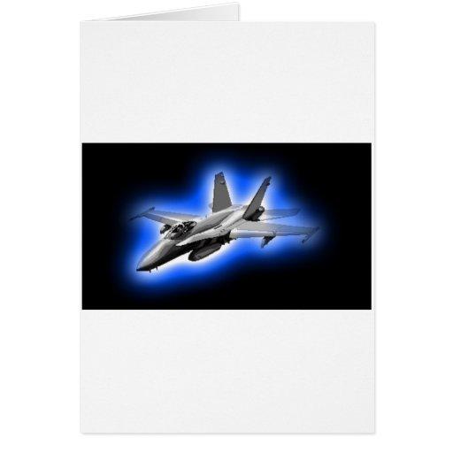 F/A-18 Hornet Fighter Jet Light Blue Greeting Cards