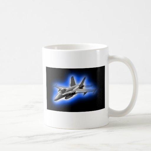 F/A-18 Hornet Fighter Jet Light Blue Coffee Mug