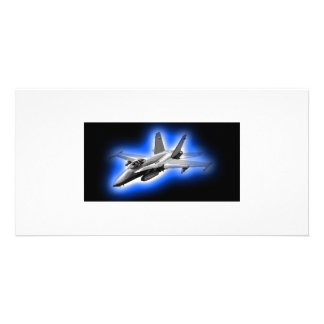 F A-18 Hornet Fighter Jet Light Blue Personalized Photo Card