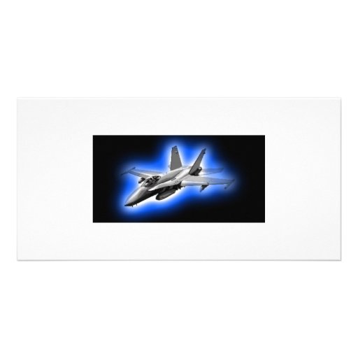 F/A-18 Hornet Fighter Jet Light Blue Personalized Photo Card