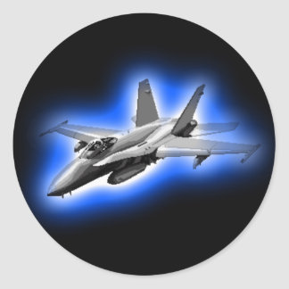 F/A-18 Hornet Fighter Jet Light Blue Round Sticker