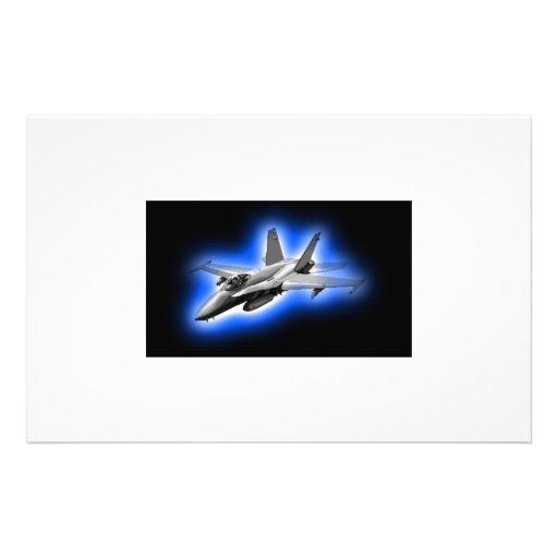 F/A-18 Hornet Fighter Jet Light Blue Stationery Design