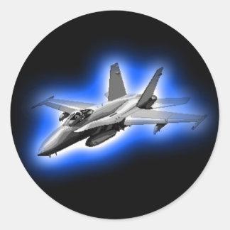 F A-18 Hornet Fighter Jet Light Blue Round Stickers