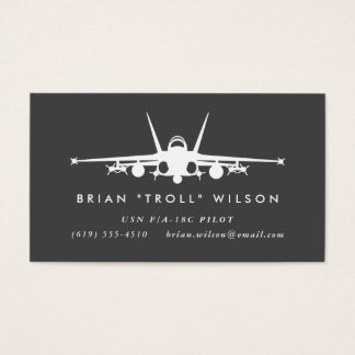 F/A-18C Fighter Pilot with matching pattern Business Card