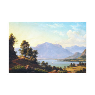 F.C. Kiærskou Alpine Landscape with a River Canvas Print