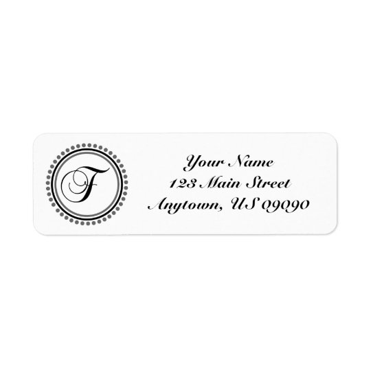 F Dot Circle Mongram Address Label (Black / Grey)