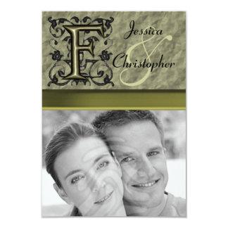 """F - Embossed Vintage Monogram (Gold) 3.5"""" X 5"""" Invitation Card"""
