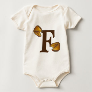 F is for Fortune Cookie Monogram Letter F Foodie Baby Bodysuit
