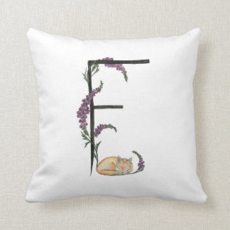F is for Fox and Foxglove pillow! Throw Pillow