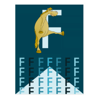 F Letter  Dark blue card Flexible pony bunting. Postcard