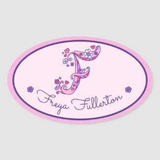 F letter monogram custom girls name pink stickers