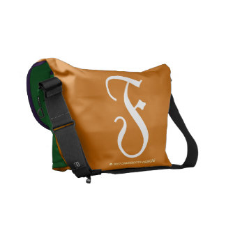 F Monogram Copper, Amethyst, Kelly Green Courier Bag