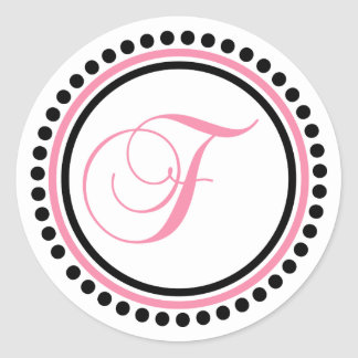 F Monogram (Light Pink / Black Dot Circle) Classic Round Sticker