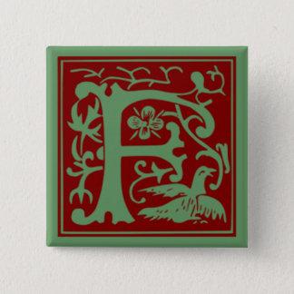 F - Ornamental Alphabet 2 Inch Square Button