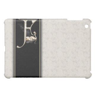 F White Damask Swans Monogram  iPad Mini Cases