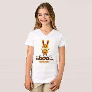 Fa boo lous Halloween cute rabbit with pumpkin bat T-Shirt