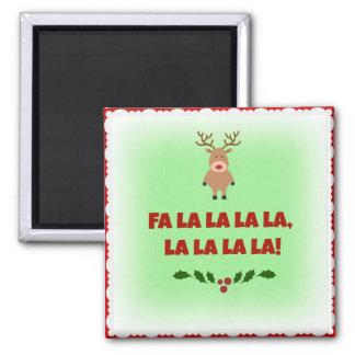 Fa La La La La Christmas Square Button Magnet