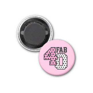 FAB 40th Birthday PINK BLACK WHITE POLKA DOTS 1 Inch Round Magnet