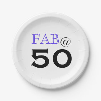 """Fab @ 50"" Birthday Party Paper Plate"