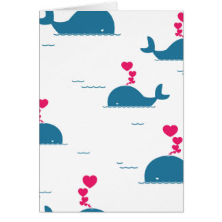 Fab Blue Whale Design With Hearts Card