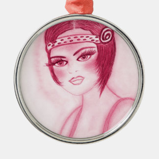Fab Flapper Girl in Red Silver-Colored Round Ornament