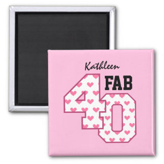 FAB Forty 40th Birthday PINK and WHITE HEARTS V02 Square Magnet
