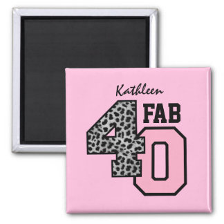FAB Forty 40th Birthday SILVER LEOPARD V03 Square Magnet