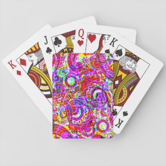 Fab Hipster Retro Purple Red Paisley Pattern Playing Cards