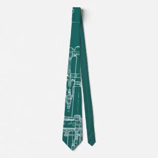 FaB MeChaNiCal DrAwinG BlUEpRiNT gReeN  AnD WhITe! Tie