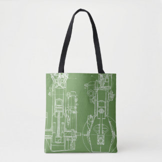 FAB MECHANICAL DRAWING BLUEPRINT green  WHITE Tote Bag