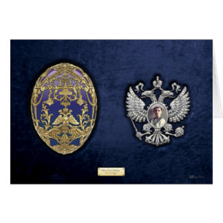 Faberge Tsarevich Egg with Surprise on Blue Velvet Card