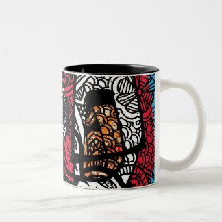 Fabric and PaintBrushes Two-Tone Coffee Mug