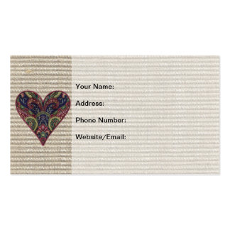Fabric Applique Heart Collage Business Card Template