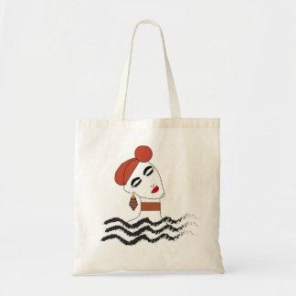 Fabric bag with girl illustration