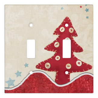 Fabric Buttons Vintage Christmas Tree Red Light Switch Cover