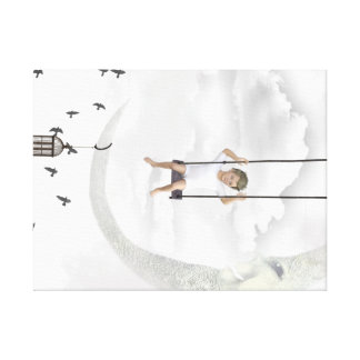 Fabric Child on a swing in the clouds Canvas Print