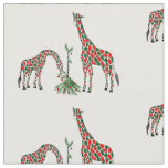 Fabric-Christmas Giraffes Fabric