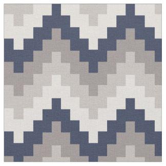Fabric Geometric Chevron Pattern Azul and Gray
