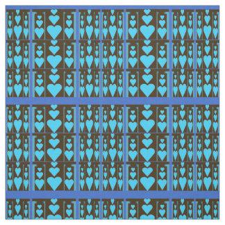 Fabric - Hearts Galore on Black & Blue Pattern