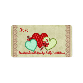 Fabric hearts hand stitching sewing Christmas