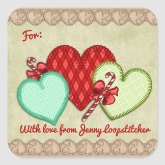 Fabric hearts hand stitching sewing Christmas Square Sticker