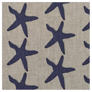 fabric Nautical starfish beach blue