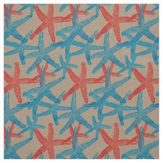 fabric Nautical starfish beach blue red  taupe