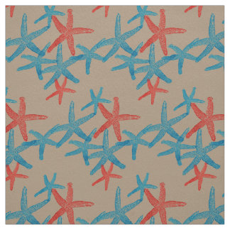 fabric Nautical starfish  blue red taupe